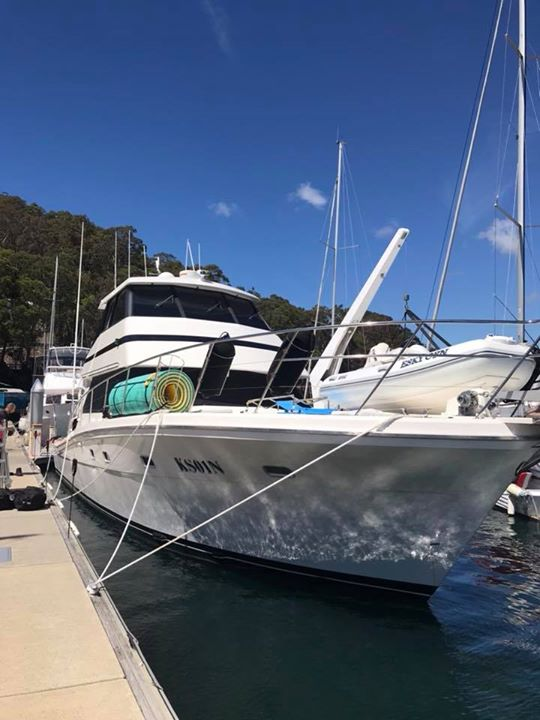 50ft luxury boat with 3M crystalline and decals installed to